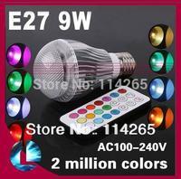 (4x3w)12W 9w 5w  Ra>80 AC85V~245V  GU10 E27 GU5.3 B22 base RGB Remote Control 16 Color Change led lights lamp fee shiping
