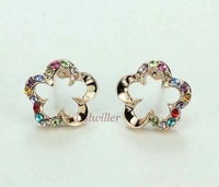 Free Shipping Italina Rigant fashion jewelry wholesale Flowers Crystal Earring And 18K Rose Gold Plated Birthday Gift