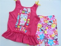 Free Shipping hello kitty Girl Wear children clothing set T-shirt +Pant Children Clothes Suit Kids Clothes/Kids Clothing Set