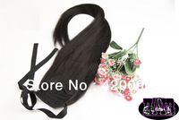 Rosa hair products high quality 80g-200g 24inch horsetail pony tail 100% human hair clip extensions #1bomen accessory