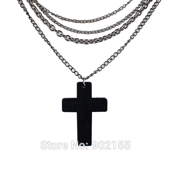 Hot Sale Fashion Design Jewelry Black Wood Cross Pendant Body Chains Necklace for Women(China (Mainland))