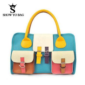 2015 Cute Candy Color Faux Leather Bag Handbags Hasp Shoulder Bags Women Handbag FBG-014