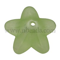Transparent Acrylic Beads,  Frosted ,  Flower,  Green,  about 18mm in diameter, 12mm thick,  hole: 1.5mm,  about 770 pcs/500g