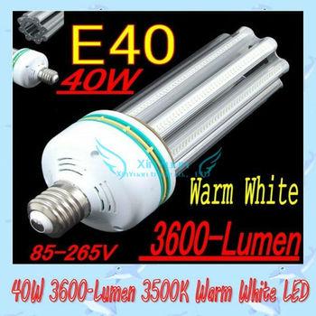 LED  light  High power E40 40W  Warm White LED Street Light Lamp Bulb (AC 85-265V)  free  shipping