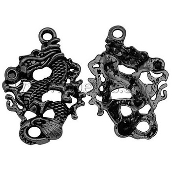 Tibetan Style Pendants,  Dragon,  Black,  Lead Free and Nickel Free,  41x27x3mm,  Hole: 3mm