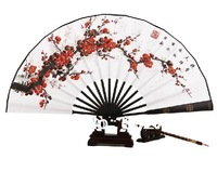 Free Shipping 2014 Promotion Seconds Kill Folk Art China Souvenir Silk Folding Fan for Man Cosplay Hand Painted