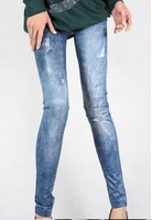New Fashion Leggings Denim Jeans Printed Ladies' Sexy Pencil Black Leggings For Women 2013