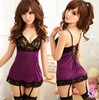 30% Off  Sexy lingerie red /purple princess dress+g string set costume sexy sleepwear,sexy kimono ,1049(China (Mainland))
