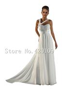 2015 Elegant  chiffon long wedding dresses cheap sweetheart ruched pleat halter bride dresses