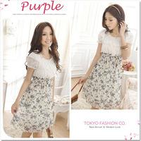 2014 New Women Summer Chiffon Dresses Cute Print Patchwork Round Neck Short Sleeve Floral Dresses S/M/L GB11960