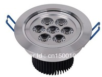 Free shipping 4pcs/lot, led dimmable  LED downlight 185-265v ac  9w  7*1pcs  ledCeiling Lamp led recessed downlight