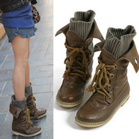 Free Shipping 2014 Big size Women PU leather Cool Uniform Ladies Fashionable Boots Spring and Autumn Plus Size 35-43