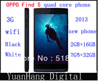 Stock debut Black Original OPPO find 5 (X909)3g phone Quad core 1.5Ghz 2Gb +16GB/32GB 5.0-inch  gift  two NFC scenes paste