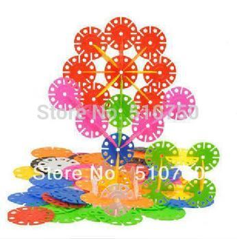 Free shipping 300pcs Colorful Plastic Snowflake Blocks Educational  Intelligence toy