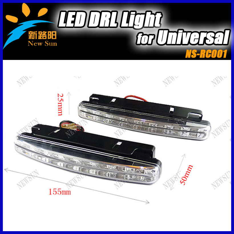 Free shipping,car headlight 2pcs*8 led universal car led daytime running light auto lamp DRL(China (Mainland))