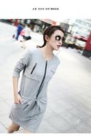 Ladies Plus Size Gray Black Long Sleeve Zipper Soft Adjustable Dropped Waist Peplum Casual Dress with Belt Size XL XXL XXXL 4XL