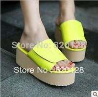 Women's shoes drag 2014 summer candy color sandals neon velcro women's open toe sandals