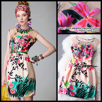 2013 summer women's fashion royal print embroidered organza silk one-piece dress fashion vintage silky flower embroidery dress