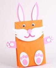 12PCS/LOT.Create your own paper bag puppet,Rabbit crafts,Paper cr