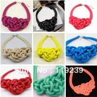 KN53 Fashion 2013 Hot Items Chunky Statement Handmade Knitted Rope Choker Collar Necklace Women Short Candy Neon Color Jewelry