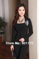 2014 new authentic solid color professional women trousers suit with pants high quality wholesale price free shipping