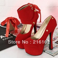 2013 Sexy Removable Suede 15cm High Heels Women Shoes High Quality Platform Pumps Ribbon Shoes Sapato Fashion Chaussure KFS095