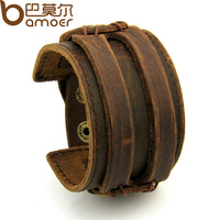 Free Fast Shipping Leather Cuff Double Wide Bracelet and Rope Bangles Brown for Men Fashion Man Braclets Unisex Jewelry PI0296