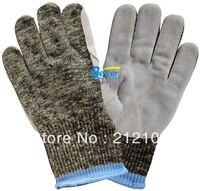 Free Shipping !!10 guage Aramid Fiber Glove !!  Anti Cut Aramid Fiber Glove With Cow Split Leather HPPE Work Glove