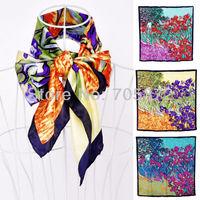 Luxury Scarves Women Hijab Fashion Silk Satin Charmeuse Van Gogh's Irises Large Square Scarf Shawl Wrap Handrolled Hem 10pc Lot