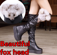 Women boots autumn winter ladies Platform velvet warm Leather ankle boots shoes high over the knee high leg flock long boots