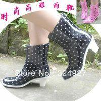 2014 NEW Spring Knee-high women's rain boots jelly polka dot fashion rainboots high water shoes rain shoes