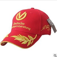 Free Shipping Michael Schumacher signed a seven-time winner wheat embroidery 100% cotton baseball cap F1 racing cap