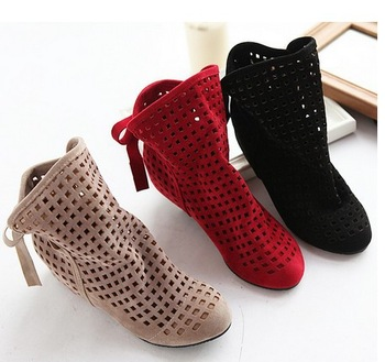 Fashion women's cut-outs Boots Spring and Summer short Boots Inside High -heeled Shoes 1050 plsu size 35-43 Free Shipping