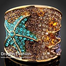 18K Color Blue Rhinestone Crystal Starfish Rings Fashion Jewelry for Women Free Shipping (Dragon DFDR0037