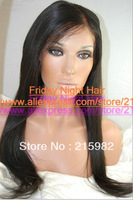 NOTICING!!! Nature!! Top quality 100%  Mongolian virgin human hair Nature straight best  Silk top full lace wig
