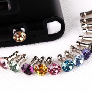 Cute crystal bowknot universal earphone 3.5 mm ear cap dust plug dust cap for iPhone iPod cell phone