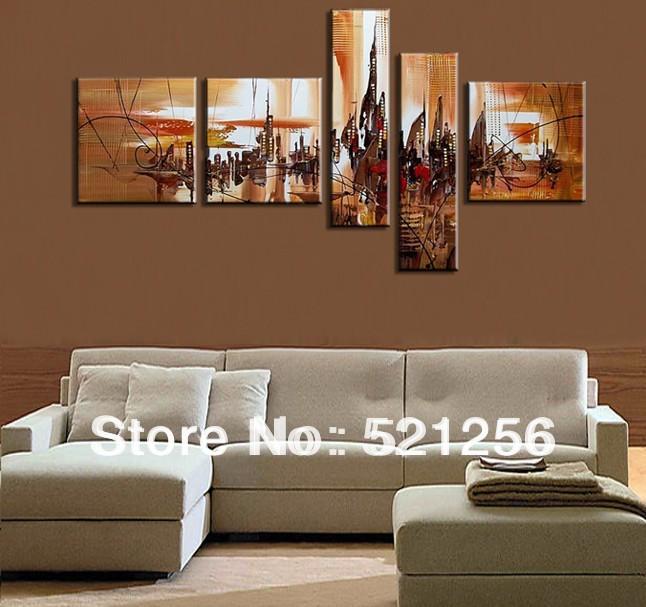 frete grátis parede arte moderna abstrata handpainted pintura da lona fixados decoração bla32 5 painéis(China (Mainland))
