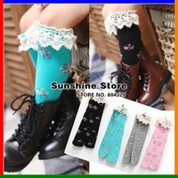 Sunshine store #2S1007  12 pair/lot (6 colors) 2013 Girl's linen lace high knee floral Stocking long leg warmer 2~8 years CPAM