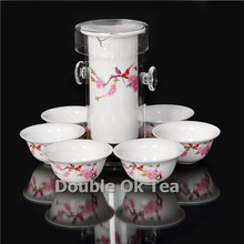 Peach 7pcs Fine Chinese Black Tea Glass Gongfu Set For Tea 1 Ceramic Teapot 6 Bone China Tea Cups Porcelain Tea Service Present