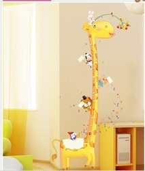 Free Shipping Lovely Giraffe Kids Growth Chart Height Measure DIY Decor Wall Stickers For kids room /background wall(China (Mainland))