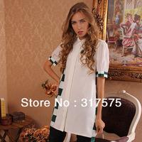 Free shipping wholesale /retail 2013 summer fashion slim women shirt female short-sleeved designer silk polo loose blouses white