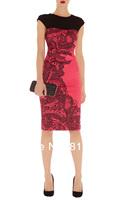Retail Hot 2014 Fashion USA Brand Red Patchwork Printed Dress Women Dress Lace Print Dress Signature-Silk Lace Fashion New DP159