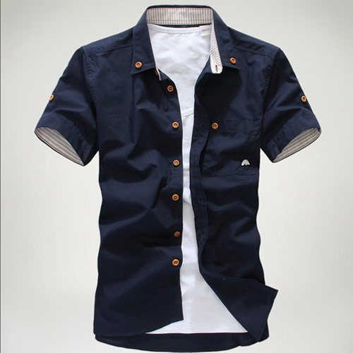 man spring 2014 small mushroom embroidery stripe bordered male shirt ,mens dress shirts(China (Mainland))