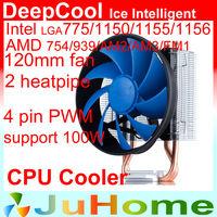 120mm fan, 4pin PWM, 2 heatpipe, side-blown Intel LGA 775/115x, AMD FM1/FM2/AM3+/AM2+, CPU Fan, DeepCool ICE_Intelligent