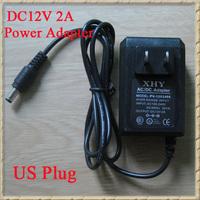 DHL Free Shipping 200pcs/lot AC100-240V to DC 12V 2A US Plug Power Adapter Supply Black Hull For CCTV Cameras
