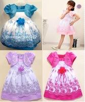 Retail 1Pcs Fake two-piece  Korean version foreign trade girls the Puff Shaqun girl dress baby  8899