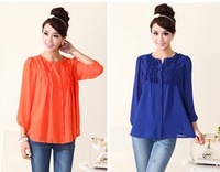 Promtion!Free Shipping  2014 Women Fashion Designer New Casual  Shirts, Slim  Chiffon Blouses  Maxi size  L XL XXL XXXL XXXXL