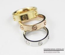 14K Gold Plated 316L Titanium Steel Yellow golden and white gold and rose gold Ring(China (Mainland))