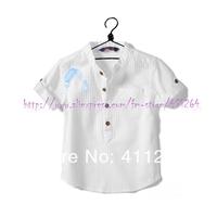 Retails (2-7Y) children shirt za boy white shirt za short sleeve vertical stripes shirt cotton shirt free shipping