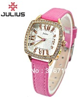 Hot Original New Design Branded  JULIUS Watches For Women,Fashion Roman Numbers Indicate Square Dial Leather Watch Band JA-630